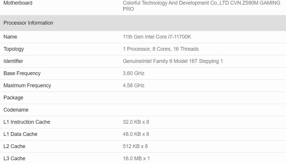 intel core i7 11700k geekbench5 specifications หลุดผลทดสอบซีพียู Intel Core i9 11900K และ Core i7 11700K อย่างไม่เป็นทางการ