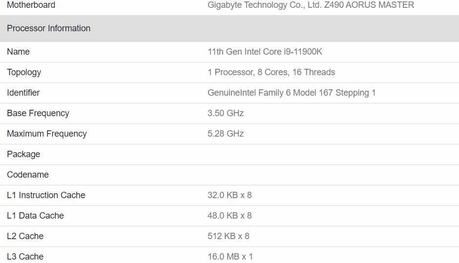 intel core i9 11900k 53 ghz geekbench5 specifications หลุดผลทดสอบซีพียู Intel Core i9 11900K และ Core i7 11700K อย่างไม่เป็นทางการ