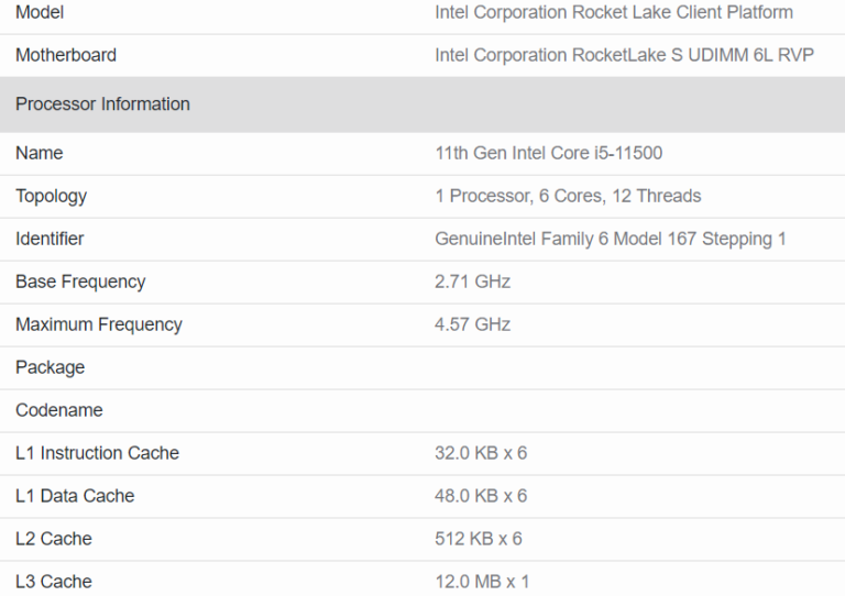 intel core i5 11500 rocket lake s cpu specifications 768x542 หลุดผลทดสอบซีพียู Intel Core i5 11500 อย่างไม่เป็นทางการ
