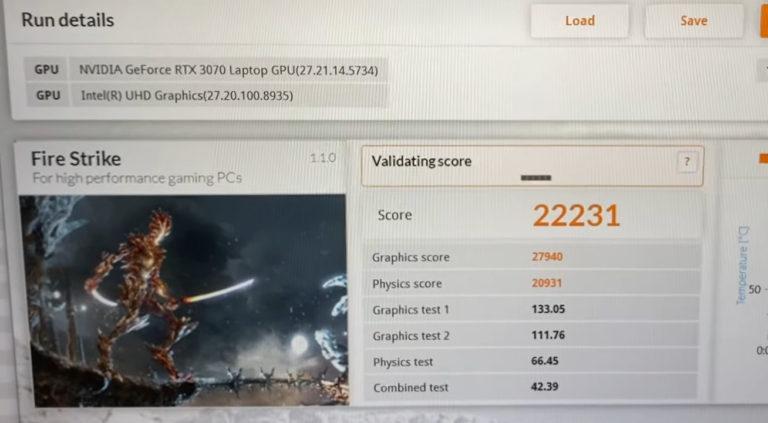 msi ge66 raider rtx 3070 max p 3dmark fire strike 768x423 เผยผลทดสอบการ์ดจอ Nvidia GeForce RTX 3070 Max P มีประสิทธิภาพแรงกว่ารุ่น Max Q มากถึง 30% กันเลยทีเดียว