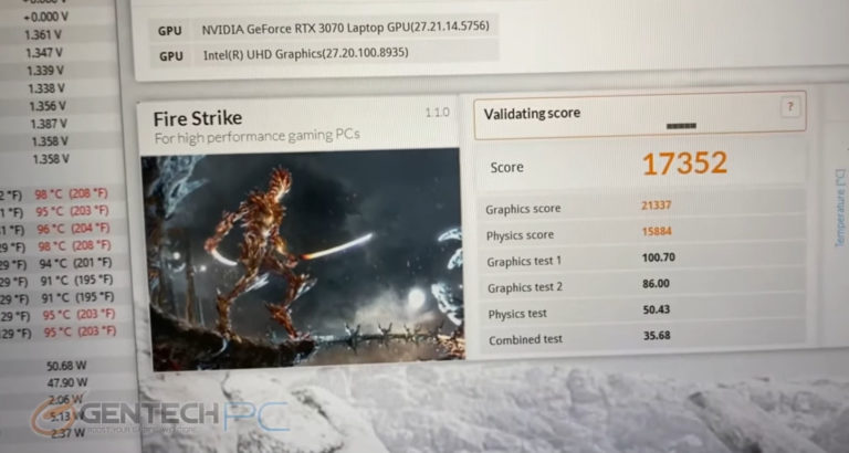 msi gs66 stealth rtx 3070 max q 3dmark fire strike 768x410 เผยผลทดสอบการ์ดจอ Nvidia GeForce RTX 3070 Max P มีประสิทธิภาพแรงกว่ารุ่น Max Q มากถึง 30% กันเลยทีเดียว