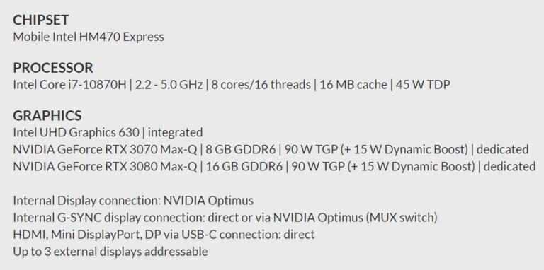 nvidia geforce rtx 30 schenker 768x382 เผยผลทดสอบการ์ดจอ Nvidia GeForce RTX 3070 Max P มีประสิทธิภาพแรงกว่ารุ่น Max Q มากถึง 30% กันเลยทีเดียว