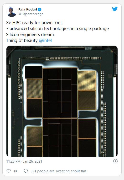 2021 01 28 10 04 10 Intel ผู้บริหาร Raja Koduri เผยภาพแรกของชิป DIE การ์ดจอ Intel Xe HPC รุ่นใหม่ล่าสุดที่ยังไม่เปิดตัวอย่างเป็นทางการ