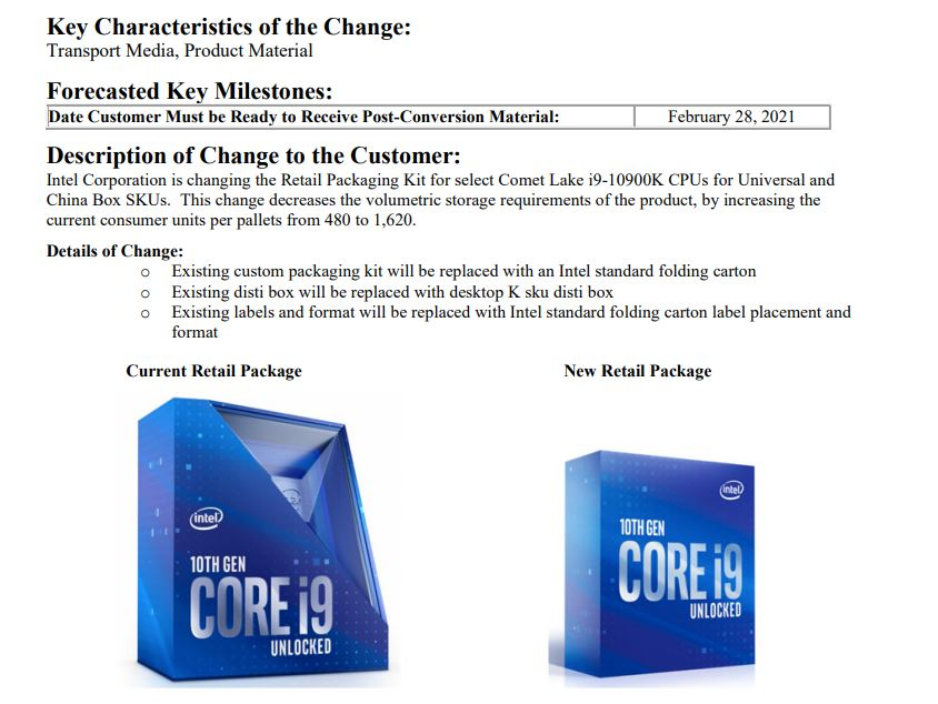 intel i9 10900k packaging change Intel เปลี่ยนกล่องจำหน่ายซีพียู Intel Core i9 10900K แบบใหม่ที่คล้ายกับรุ่น Core i7 และ Core i5