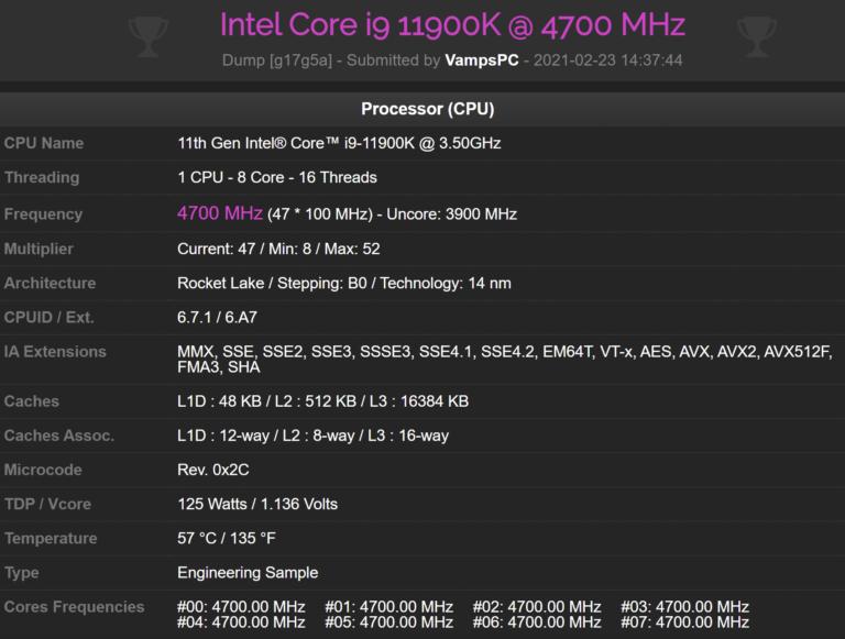 intel core i9 11900k 47 ghz cpuz performance 768x581 หลุดผลทดสอบ Intel Core i9 11900K ในโปรแกรม CPU Z benchmark