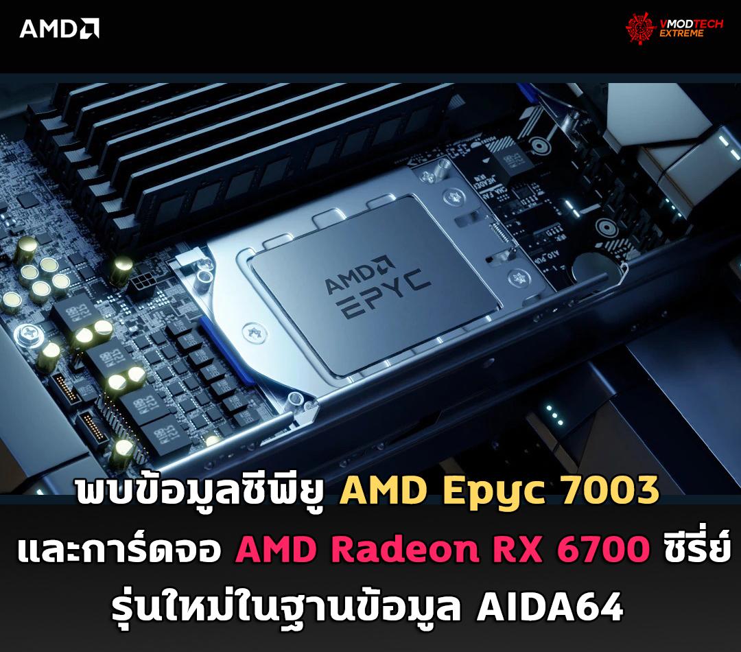 amd epyc 7003 amd radeon rx 6700 aida64 พบข้อมูลซีพียู AMD Epyc 7003 และการ์ดจอ AMD Radeon RX 6700 ซีรี่ย์รุ่นใหม่ในฐานข้อมูล AIDA64