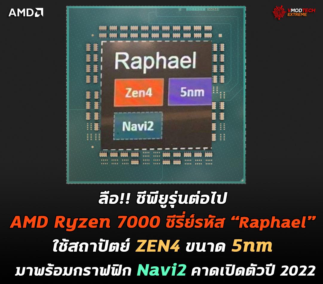 """ลือ!! ซีพียูรุ่นต่อไป AMD Ryzen 7000 ซีรี่ย์ในรหัส """"Raphael"""" จะใช้สถาปัตย์ ZEN4 ขนาด 5nm มาพร้อมกราฟฟิก Navi2 คาดเปิดตัวปี 2022"""