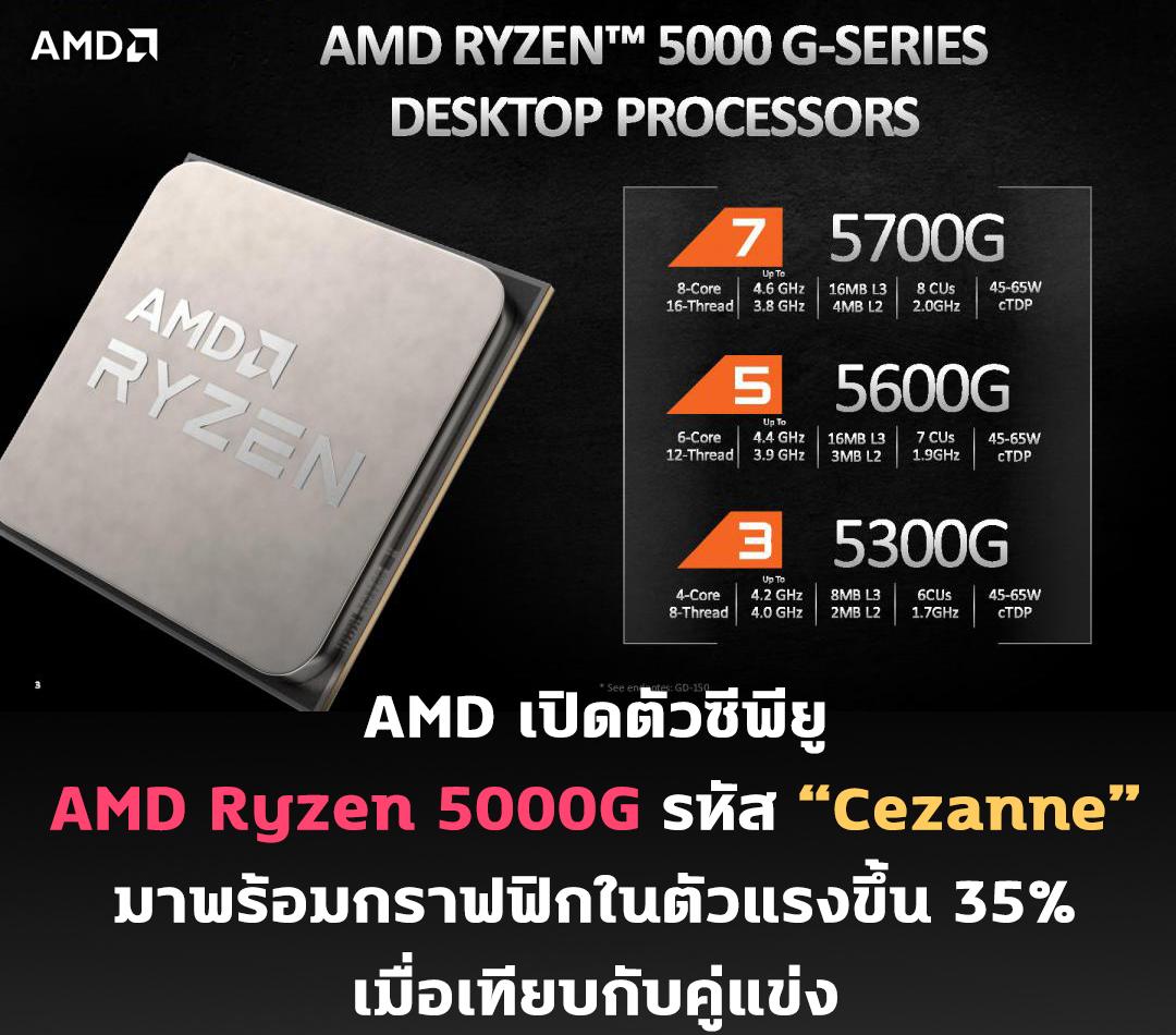 """AMD เปิดตัวซีพียู AMD Ryzen 5000G รหัส """"Cezanne"""" มาพร้อมกราฟฟิกในตัวแรงขึ้น 35% เมื่อเทียบกับคู่แข่ง"""