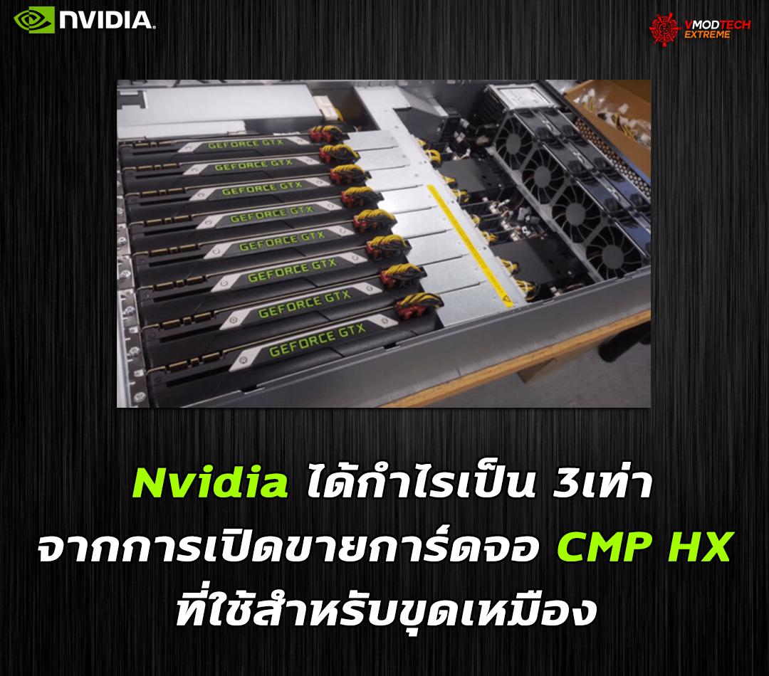 Nvidia ได้กำไรเป็น 3เท่าจากการเปิดขายการ์ดจอ CMP HX ที่ใช้สำหรับขุดเหมือง