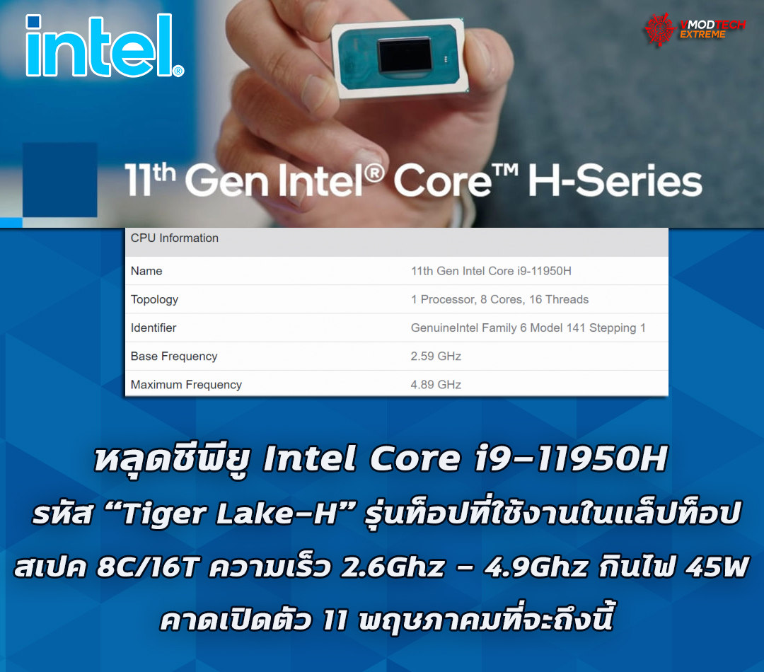 """หลุดซีพียู Intel Core i9-11950H ในรหัส """"Tiger Lake-H"""" รุ่นท็อปที่ใช้งานในแล็ปท็อป"""
