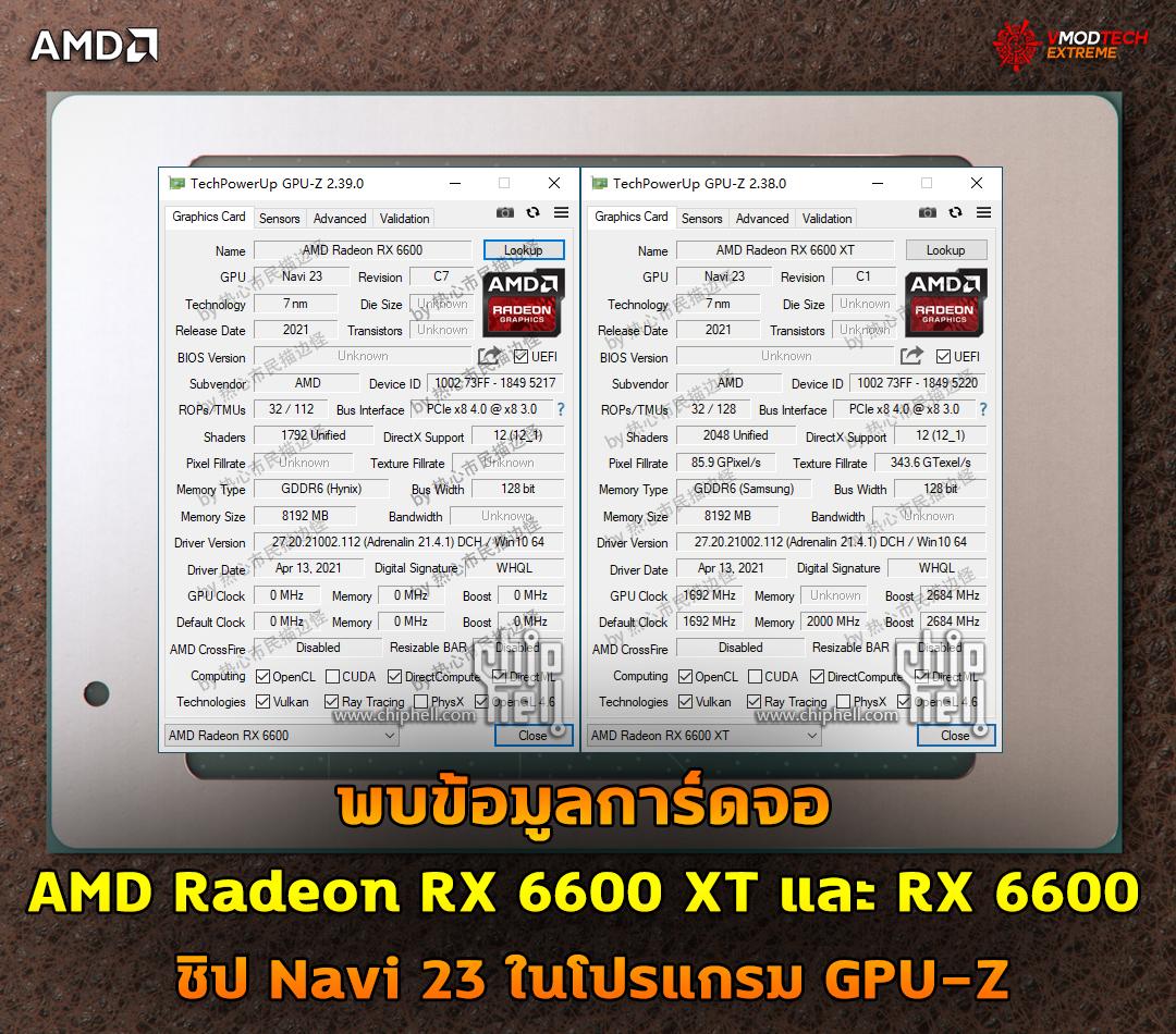 พบข้อมูลการ์ดจอ AMD Radeon RX 6600 XT และ RX 6600 ชิป Navi 23 ในโปรแกรม GPU-Z