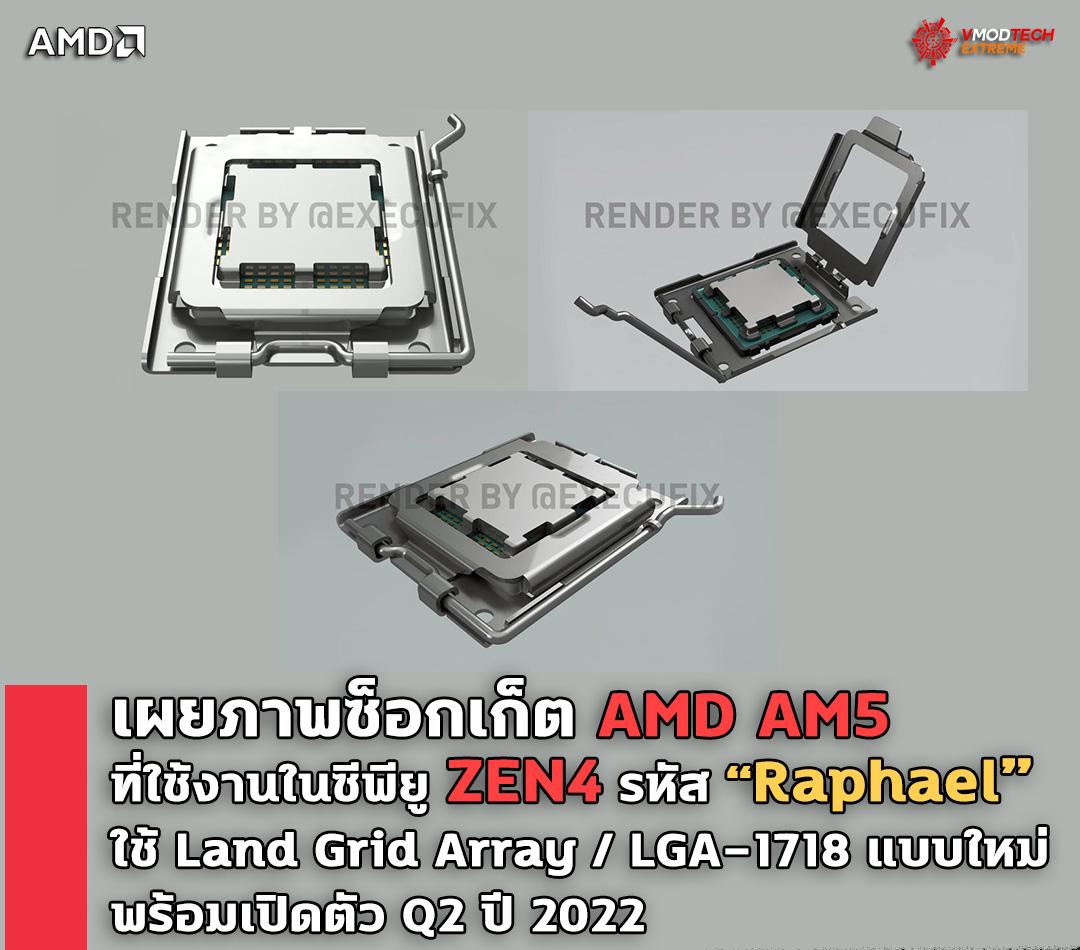 เผยภาพซ็อกเก็ต AMD AM5 ที่ใช้งานในซีพียู AMD RYZEN ZEN4 รหัส Raphael ที่จะเปิดตัวเป็นรุ่นต่อไป