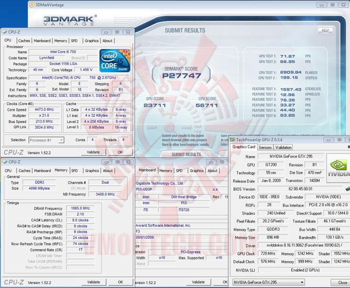3d vantage 213 Intel Core i5 750 GIGABYTE P55 UD3P overclocking test