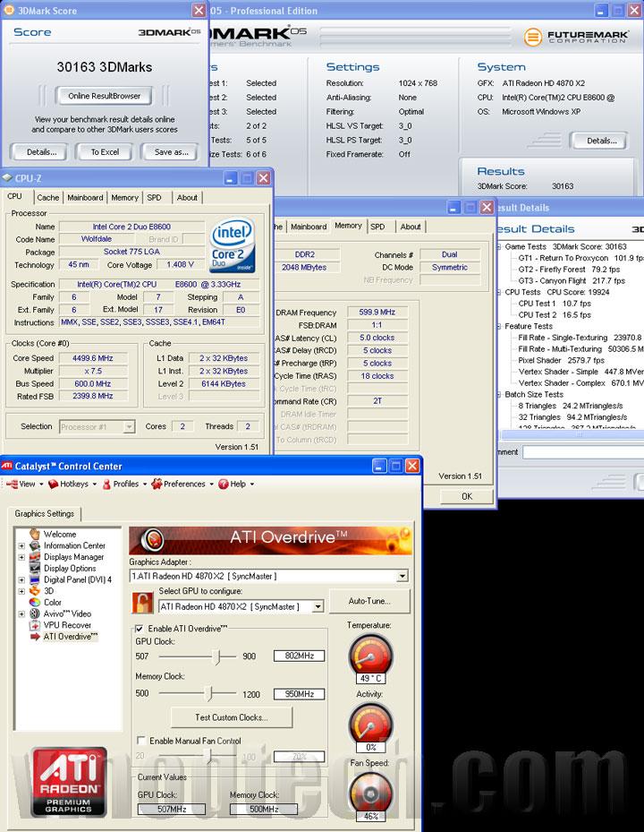 3d05 4870x2 tri ASUS EAH4870x2 Tri Fans Cooler