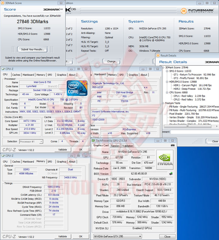 3d06 213 Intel Core i5 750 GIGABYTE P55 UD3P overclocking test