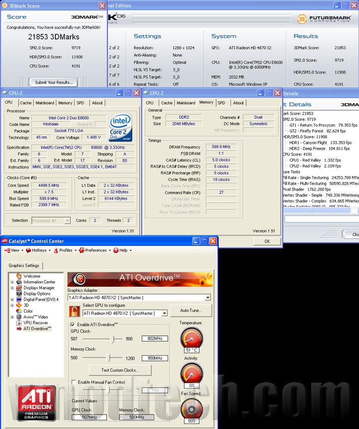 3d06 4870x2 tri ASUS EAH4870x2 Tri Fans Cooler