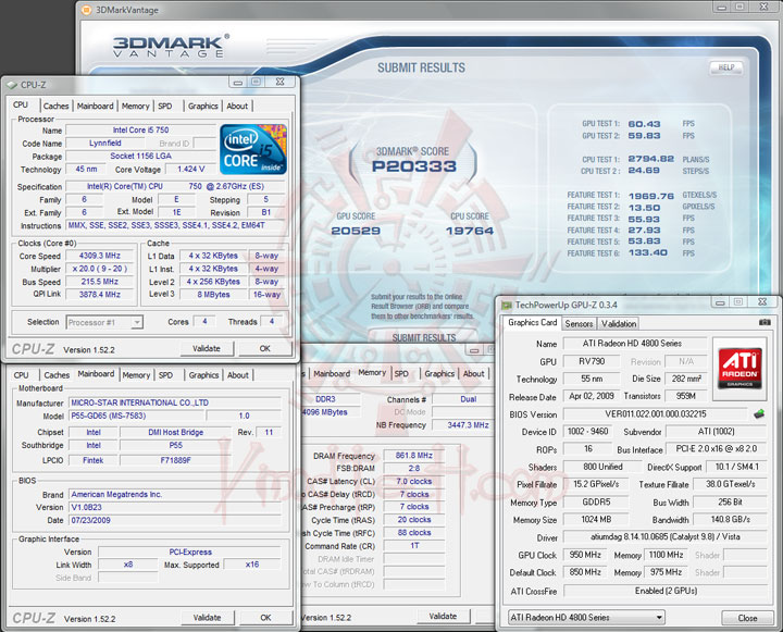 3dmark vantage 215 MSI P55 GD65   Overclock Results