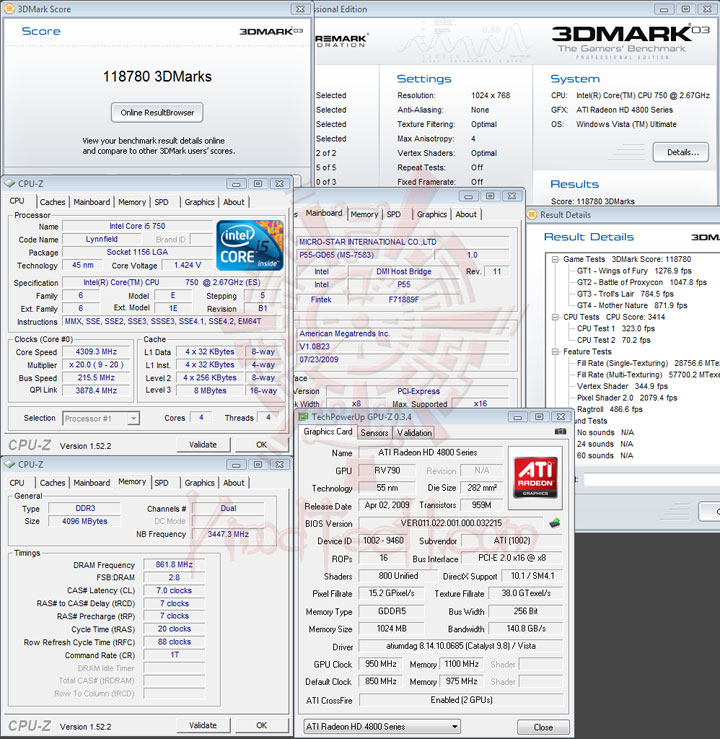 3dmark03 215 MSI P55 GD65   Overclock Results
