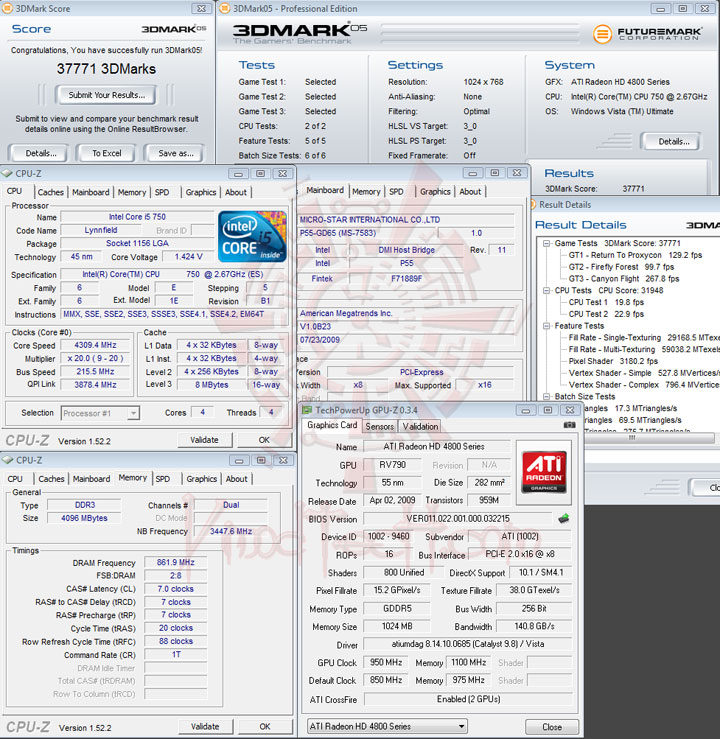 3dmark05 215 MSI P55 GD65   Overclock Results