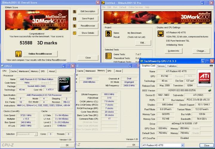 3dmark2001 AMD ATI HD 4770 แบบเต็มๆ
