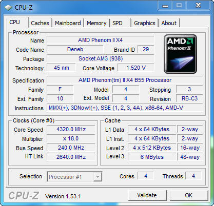 cpu1 AMD Phenom II X2 555BE @ X4 B55 Review