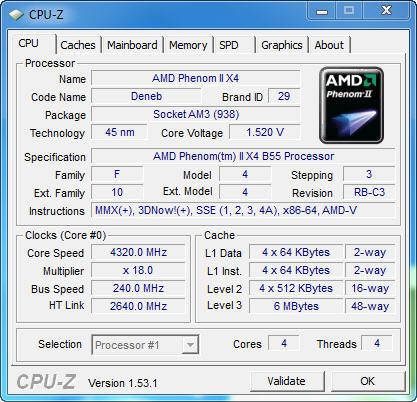 cpu1 AMD Phenom II X2 555BE @ X4 B55 Review
