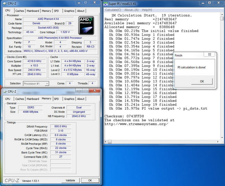 pi1mn AMD Phenom II X2 555BE @ X4 B55 Review
