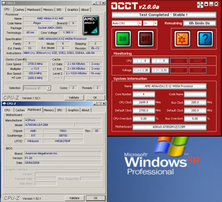 occt Economy with Asrock A780GM LE/128M