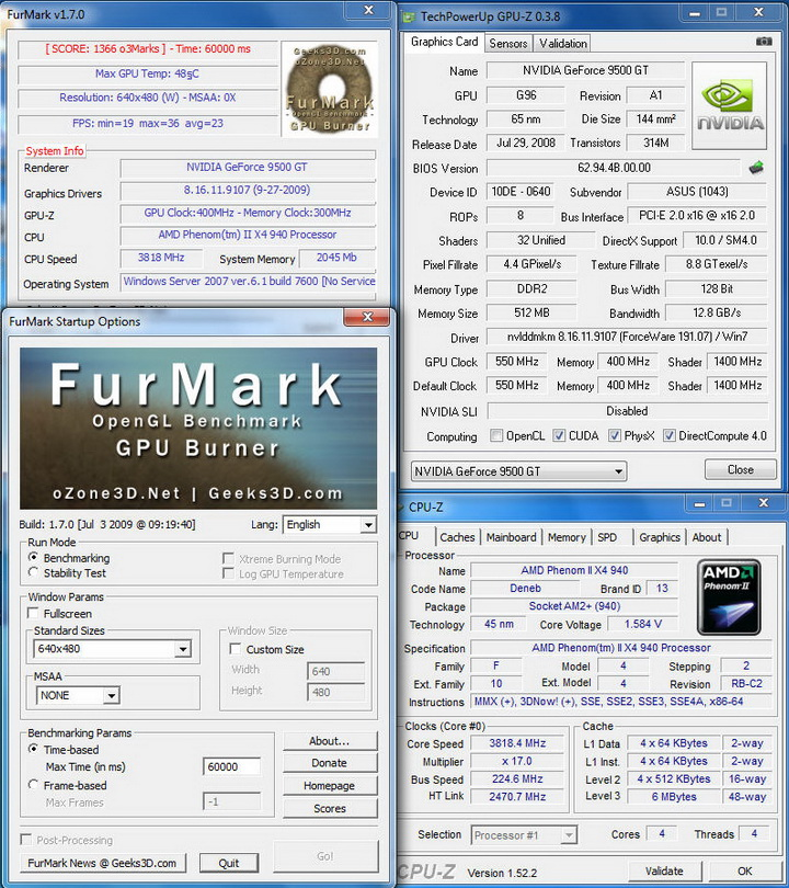 furmark ASUS Bravo 9500 : Review