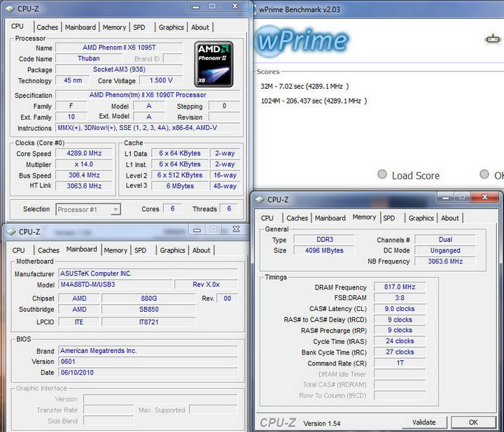 wprime Asus M4A88TD M/USB3 Motherboard Review