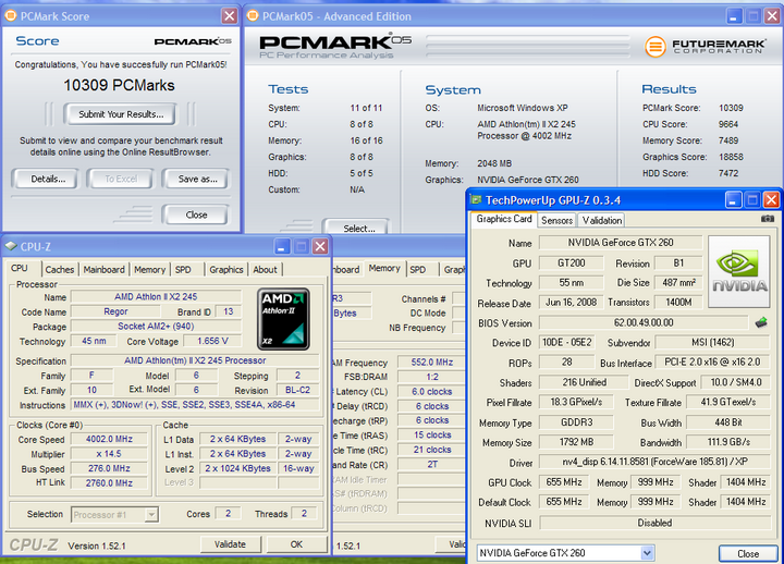 pcmark05 Athlon II X2 245 @4G