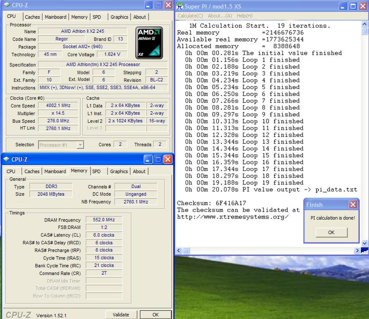 pi1m Athlon II X2 245 @4G