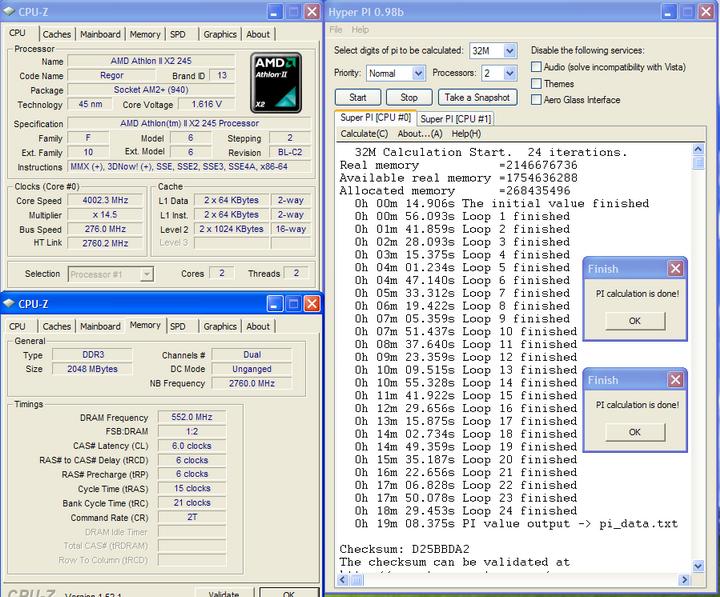 pi32 Athlon II X2 245 @4G