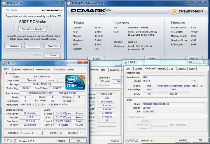 pcmark05 ECS  H55H I Review