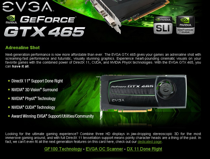 evga1 EVGA GTX465 1024MB GDDR5 Review