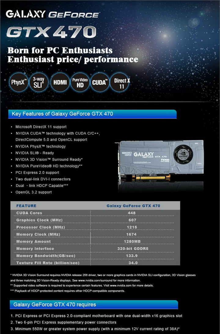 spec GALAXY GTX 470 1280MB SLI Review