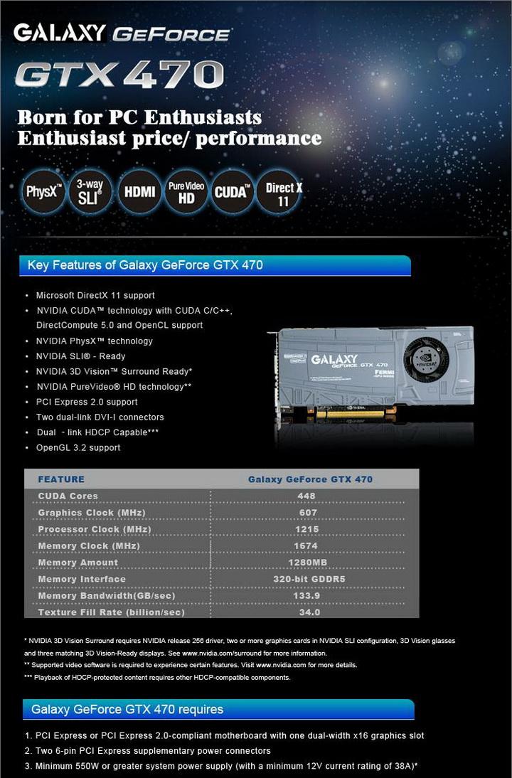 spec GALAXY GTX 470 1280MB SLI Review