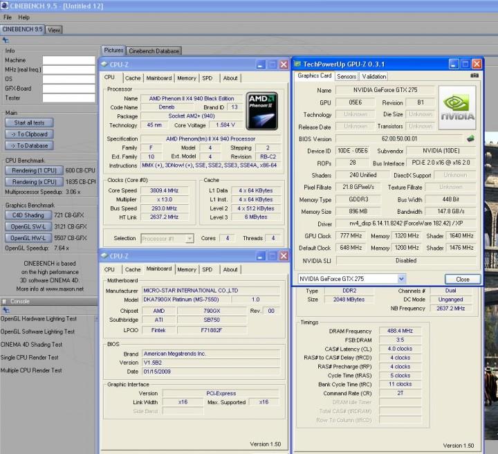 cinebench95 Galaxy GTX275  แรงได้ใจจัง