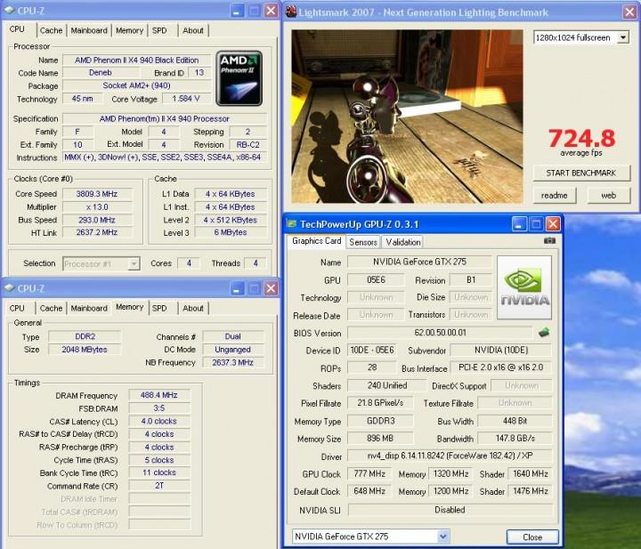lightsmark2007 Galaxy GTX275  แรงได้ใจจัง