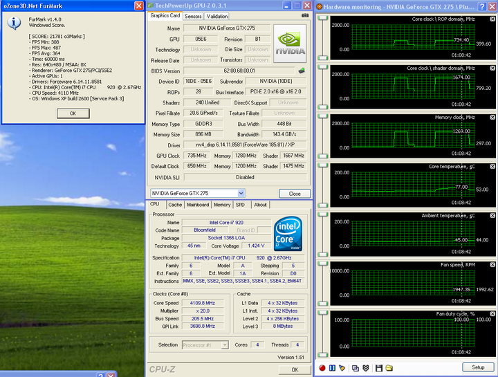 temp22 Galaxy GTX275 Overclocked