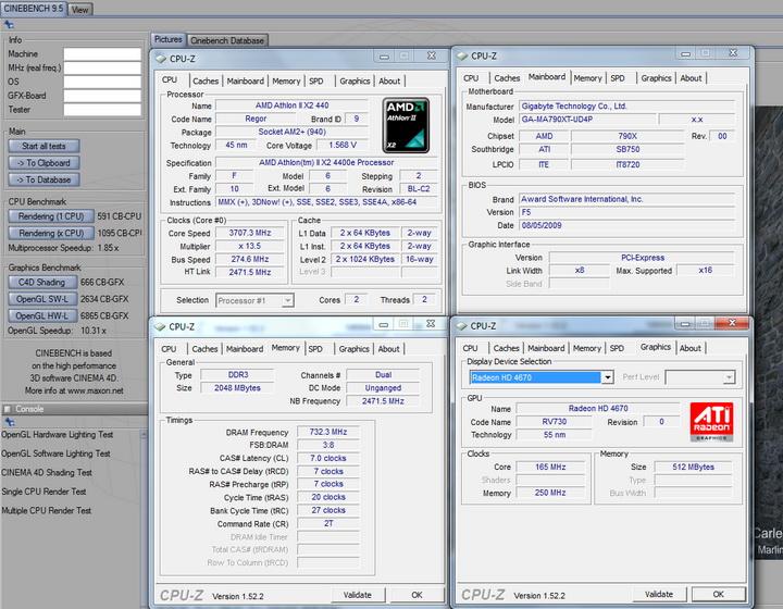 cinebench95 Gigabyte GA MA790XT UD4P