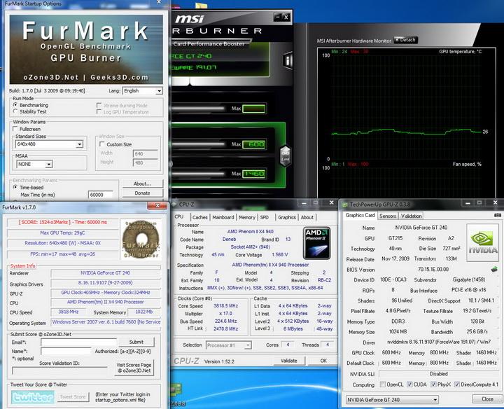 furmark Gigabyte GT240 DDR3