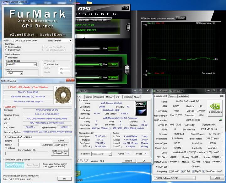 furmarkoc Gigabyte GT240 DDR3