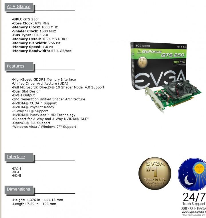 evga EVGA GTS250 1GB DDR3