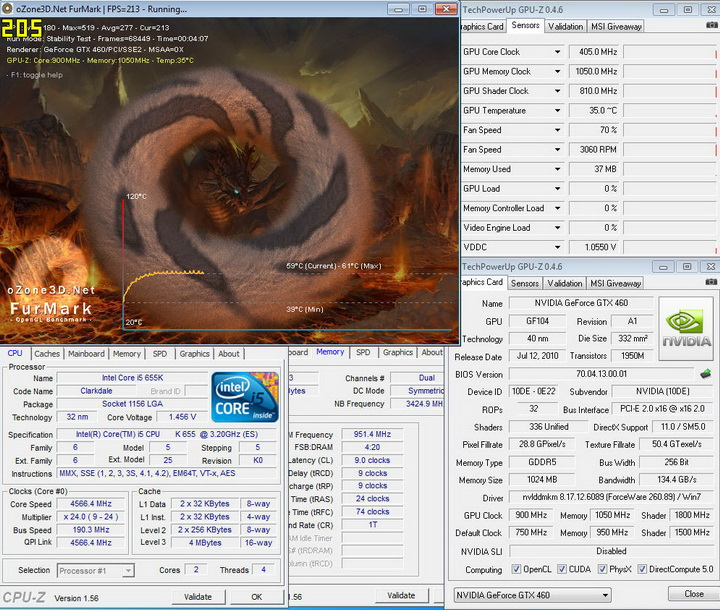temp INNO GTX 460 1GB DDR5 OVERCLOCK