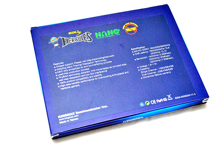 5 KINGMAX HERCULES DDR3 EP2 @ 2,400 MHz