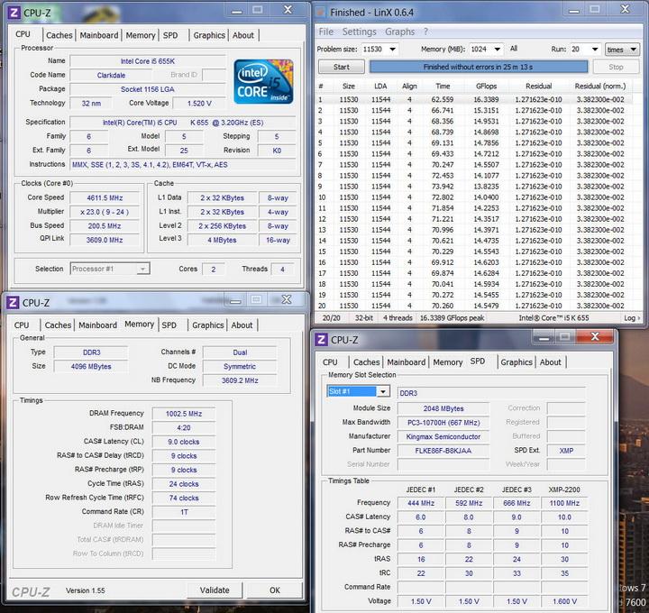 linx Kingmax Hercules DDR3  Bus 2200MHz