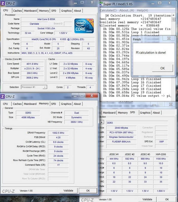 pi1m Kingmax Hercules DDR3  Bus 2200MHz