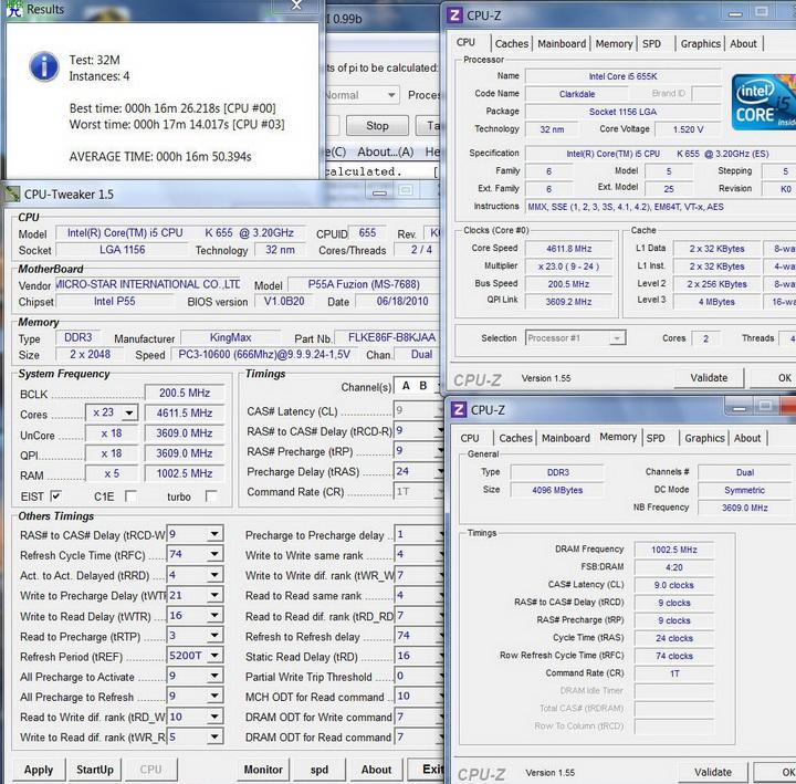 pi32m4core Kingmax Hercules DDR3  Bus 2200MHz