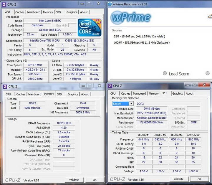 wprime Kingmax Hercules DDR3  Bus 2200MHz